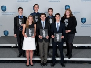 Students pose with awards at Intel fair