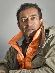 M. Sanjayan wearing an orange jacket