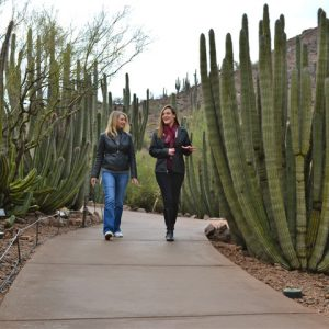 Two ASU faculty talking and walking on Desert Botanical Garden
