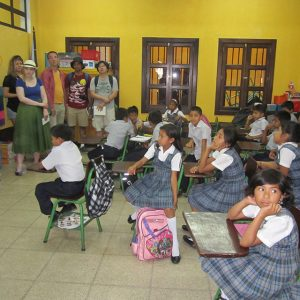 Room of Guatemalan schoolchildren wearing uniforms