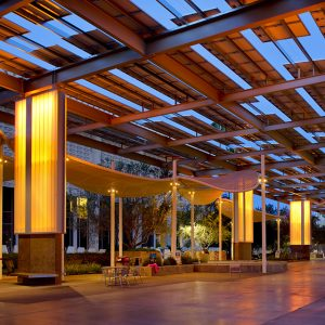 A solar array at night on ASU's Tempe campus