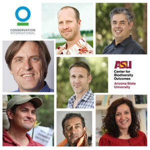 Collage of professors of practice headshots with ASU and CI logos