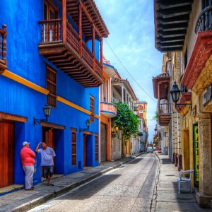 Street view of colorful colonial streets in Cartagena
