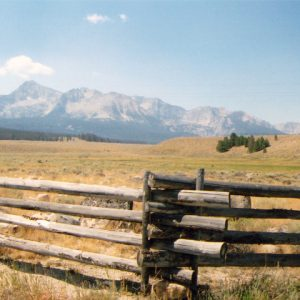 View of rangeland surrounding Sawtooth Mountains