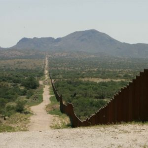 View of US-Mexico border on rangeland