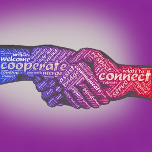 Illustration of two hands shaking with collaboration related words written on them