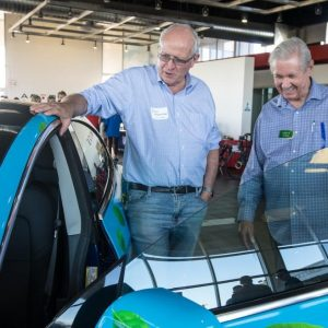 John Martinson shows off his Tesla at Green Living AZ event in Scottsdale, Arizona