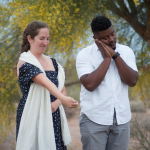 "Two ASU students act out a scene for ""Positively Ghostly"" performance"