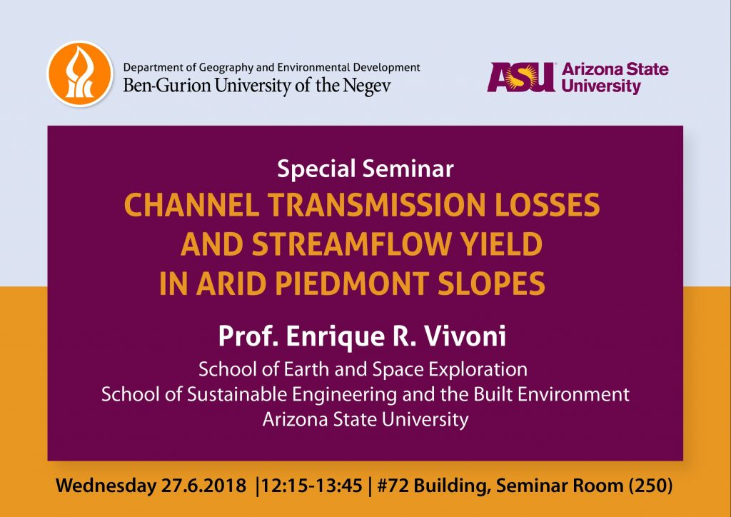 ASU Ben Gurion University Global Drylands Seminar announcement