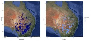 Preliminary maps of maching bands of nymphs (left) and adult swarms (right) of the Australian plague locust, derived from historical data
