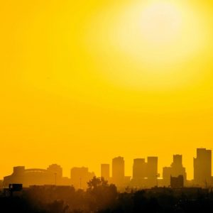 Downtown Phoenix skyline with yellow sky