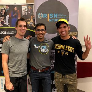 Three male ASU students standing and smiling