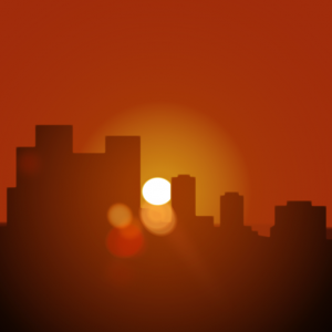 Illustration of a sun setting behind a city skyline with an orange sky