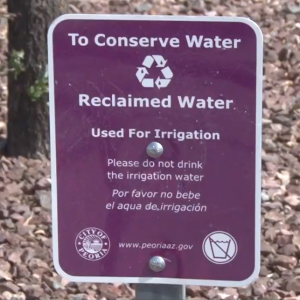Sign about reclaimed water in Peoria, AZ