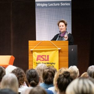 Alice Waters speaking at podium during Wrigley Lecture