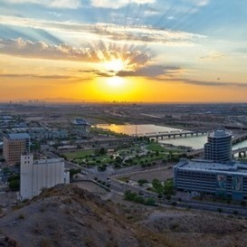 Sun setting over Tempe Towns Lake
