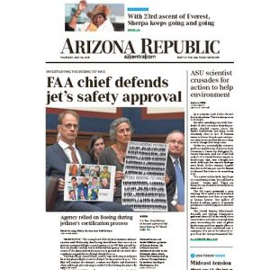 View of AZ Republic front page showing named article