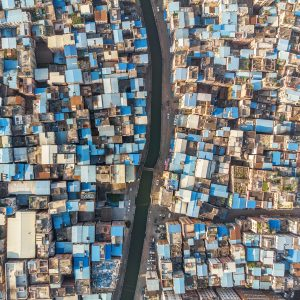 Top down Aerial view of slum neighborhood
