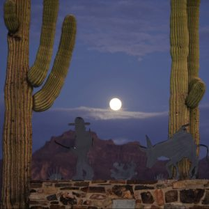 moon above mountain in Apache Junction