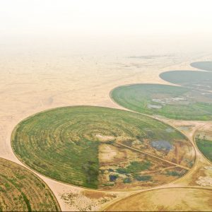 circular crop fields and desertification