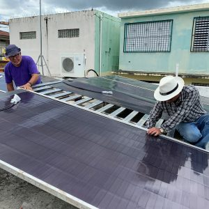 People working on Soalr panel installation in Puerto Rico