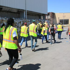 Students going through guided tour of the City of Glendale's Materials Recovery Facility