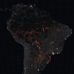 Satellite view of Amazon fires at night
