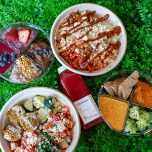 assortment of healthy, colorful food and juice