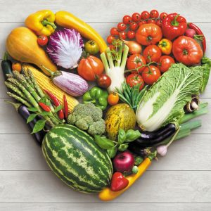 vegetables arranged into the shape of a heart