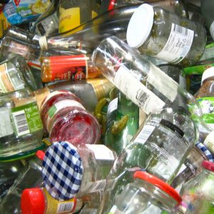 Miscellaneous glass containers to be recycled