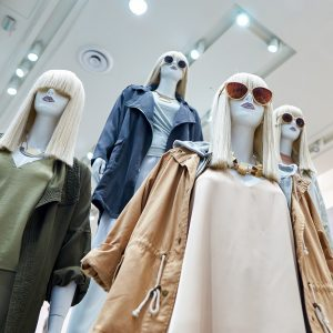 Mannequins wearing different outfits