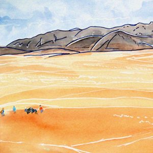 drawing of desert landscape