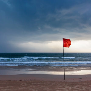 Red flag on beach as hurricane approaches