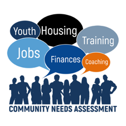"""graphic with title """"community needs assessment"""" with speech bubbles that say: youth, housing, jobs, finances, coaching, training"""