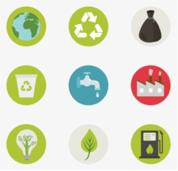 graphic with various recycling and green energy symbols