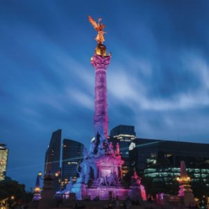 Colorful lighted sculpture in Mexico