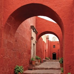 red terracota walkway in a mexican city