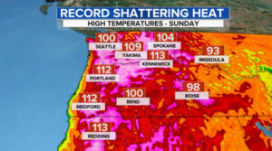 CBS News image of heat wave - most areas are red